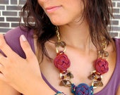 China Chic Floral leather knot necklace