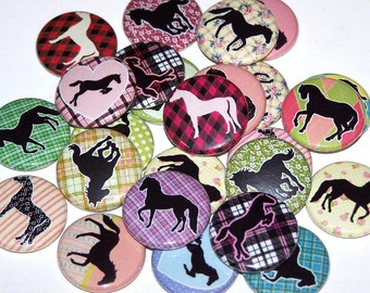 """Horse Silhouette Set of 10 Buttons 1"""" or 1.5"""" Pin Back Buttons or 1"""" Magnets Plaid Horses Party Favors"""