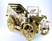 Antique Car Music Box Made of Coppertone Metal Tin Lizzy