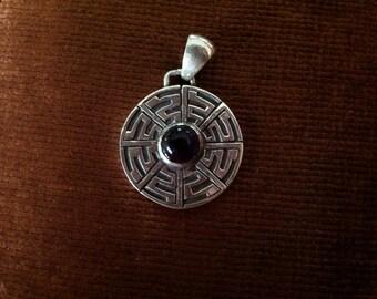 Silver and Garnet Labyrinth Pendant
