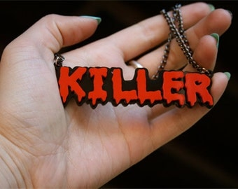 Custom Horror Font Two Nameplate Necklace