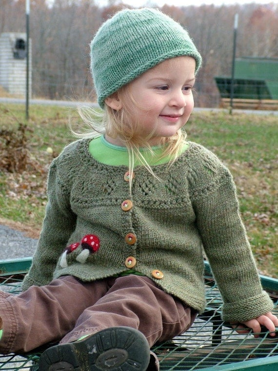 Hand-knit Woodland Sweater with Toadstools, size 3
