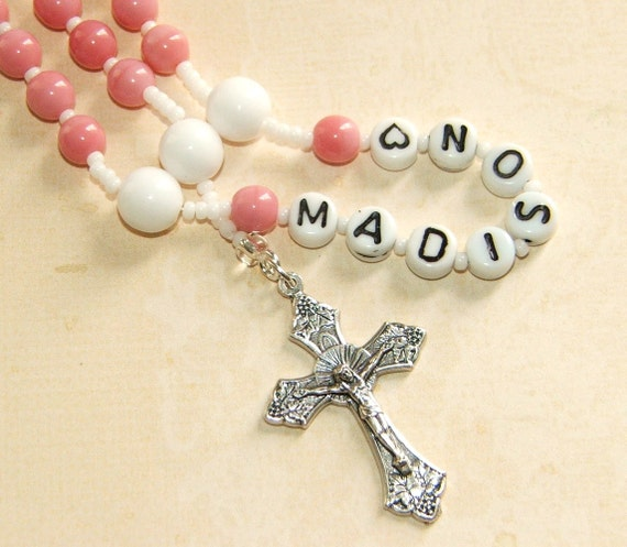 Custom Name Girl's Rosary in Pink, Baptism First Communion Special Occasion Gift