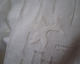 White Bonnet with Drawn Threadwork and White Embroidery