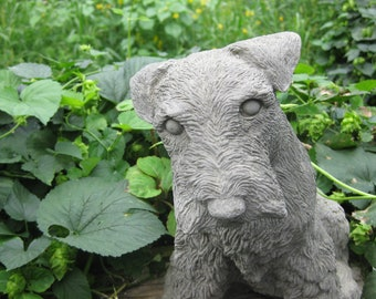 Concrete Wire Haired Fox Terrier or Lakeland  Dog Statue