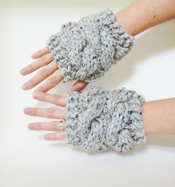 Puck's Knit Gloves - CHOOSE Your Color - Fingerless Wrist Warmers Cabled in Gray Tweed - Lit Knits