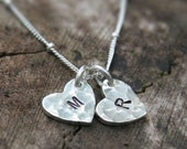 Monogram Double Heart Personalized Necklace / Two Hand Stamped Initial Charms in Sterling Silver
