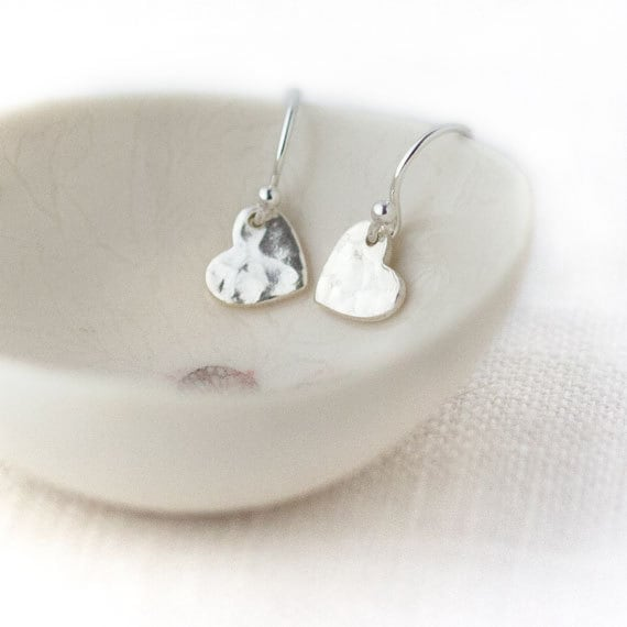 Small Silver Heart Earrings / Romantic Mini Hammered Sterling Silver Hearts / Pretty Little Love Earrings