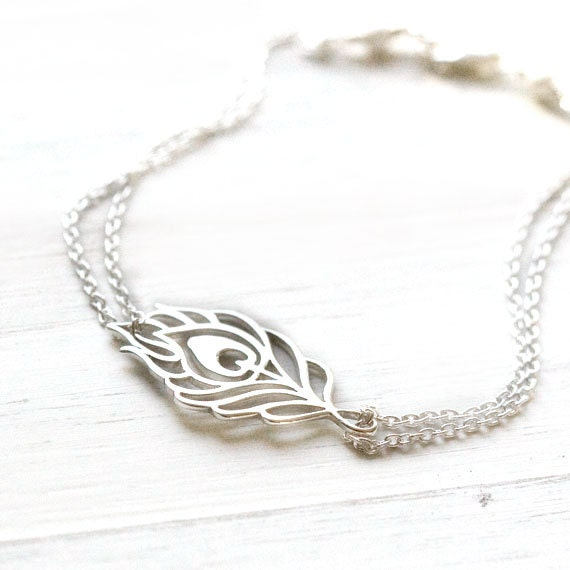 Silver Metal Feather Bracelet / Sterling Silver Peacock Feather Cutout on Double Strand Chain