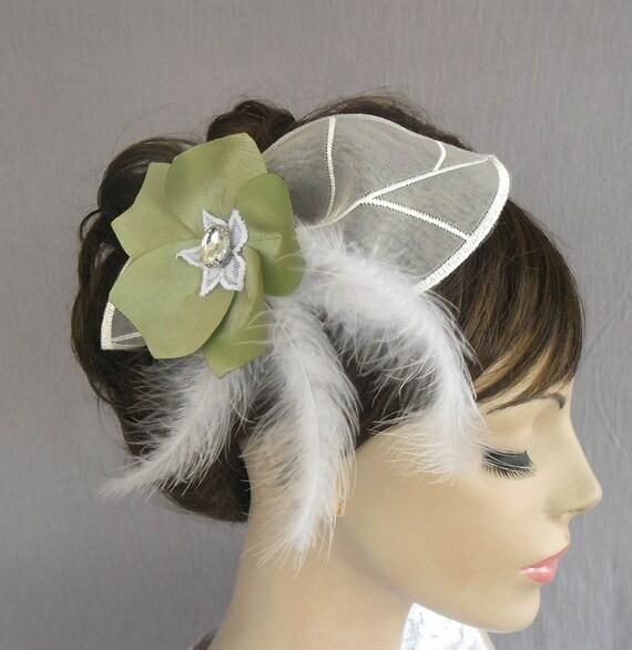 Bridal Fascinator Hat, Feather, Organza Leaf, Sage Green, Fabric Flower: A Veil Alternative. Handmade and unique deign