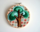 EMBROIDERY Hoop wall hanging fiber art CELEBRATE SUMMER in color dots cotton with brown and emerald oak trees felt by small craft advisory