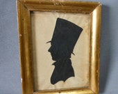 19thC Folk Art Silhouette of a Gentleman in Stove Pipe Hat