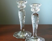 McKee Rock Crystal Pattern Set of Two Depression Glass Candlesticks