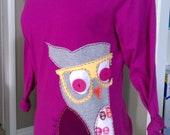 Cortneys long sleeved Owl shirt purple, small