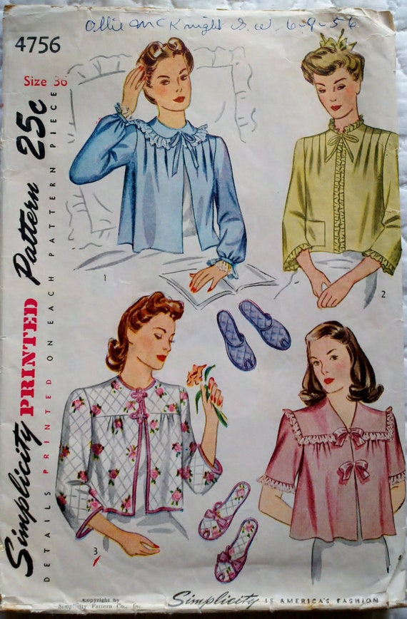 Simplicity 4756 Vintage 1940s Sewing Pattern Womens Bath Robe Bed Jacket and Bedroom Slippers Bust 36""