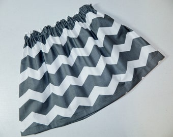 New  charcoal gray and white chevron fabric SKIRT for baby, toddlers, girls, tweens