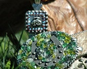 Lucky Cowgirl Custom Belt Buckle Pieridot Crackle Glass & Horseshoe