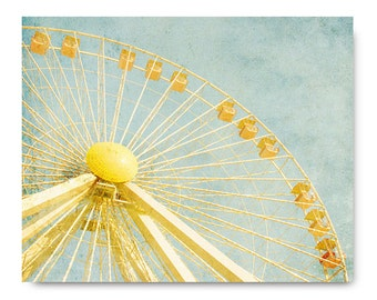 Ferris Wheel photo, yellow ferris wheel, bright, colorful, carnival photo, blue, town fair, midway, orange, yellow, blue, sky, wildwood, nj