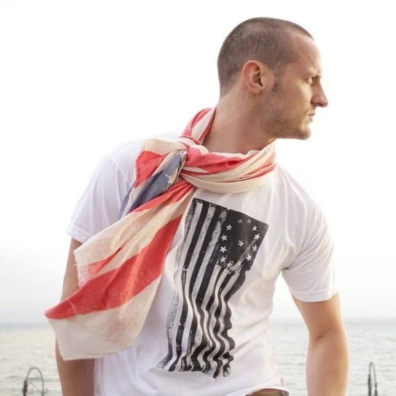 White T Shirt for men. Handmade print. Short Sleeve - 1776 American flag - Sale