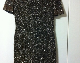 Black and Gold Sequin Dress Size 8