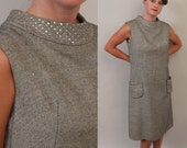 SALE 1960's shift dress in salt and pepper tweed