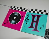 ROCK AND ROLL Banner - Turquoise Blue and Hot Pink