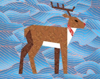 Christmas Reindeer quilt block, paper pieced quilt pattern, PDF pattern, instant download, Christmas pattern