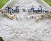 Custom Embroidered Vintage Wedding Handkerchief -  Hand Embroidery - 2 lines plus small detail