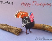 Dollhouse Miniature Turkey for Thanksgiving - OOAK Mini Feathered Bird