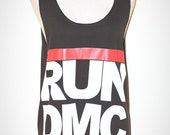 RUN DMC Charcoal Black Tank Top Singlet Sleeveless Hip Hop Rap Rock Size L