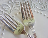 Mr. and Mrs. Wedding Cake Forks