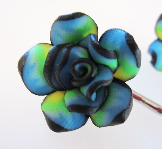 Bright Flower 3/4 inch Polymer Clay on Pair of Metal Bobby Pins