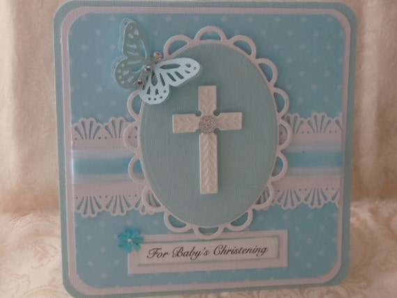 Handmade Christening Card  Blue with Cross & Butterfly