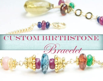 Custom Birthstone Bracelet/Mother Daughter Jewelry/Custom Birthstone Necklace/Wedding Party Birthstone Bracelet