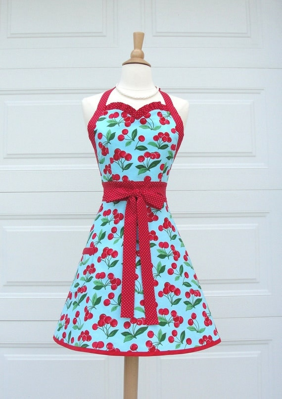 Cherry Pie Sweetheart Apron in Aqua & Red by Michael Miller Fabric - Ready to Ship