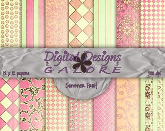 Summer Fruit Digital Paper Pack Set of 14 - Commercial and Personal Use - Digital Designs Galore
