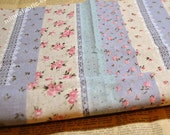 Linen Cotton Blended Fabric - Stripe - Lace And Flora (blue) - Fat Quarter(21in x 19in) - LF055