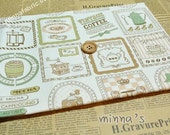 Linen Cotton Blended Fabric - I Love Coffee (tan)- Fat Quarter(27in x 19in) - LF288