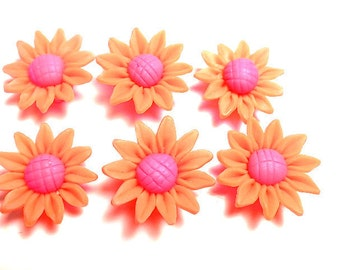 6 Fimo Polymer Clay Orange Fuschia  Sunflower Flower Fimo Beads 30mm