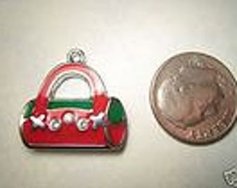 New Cute Small Purse Charm Pendant Red Green Beads