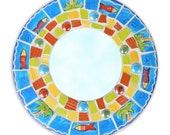 Tropical Round China Mosaic Mirror- Pique Assiette