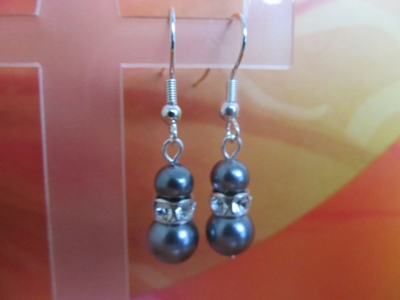 Silver Pearls and Swarovski Crystal Earrings