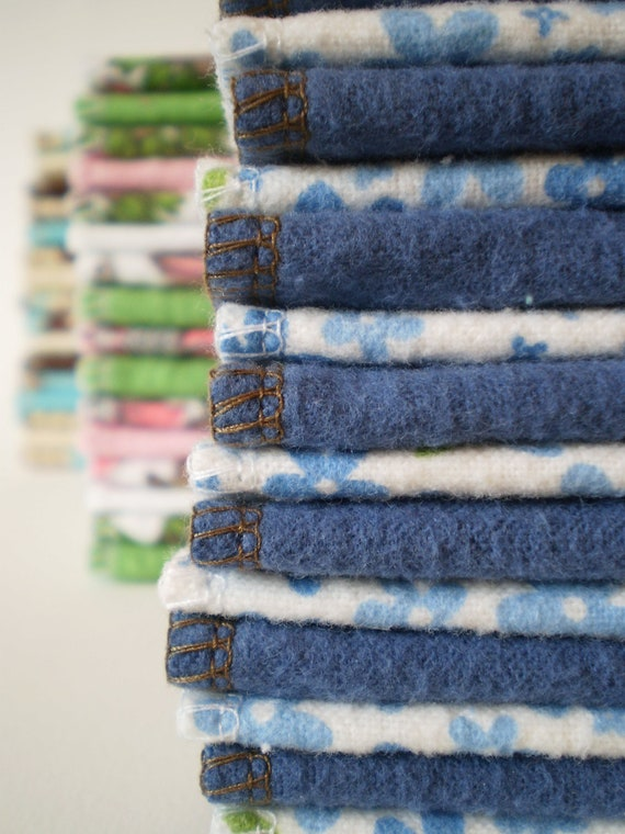 Reusable Cloth Wipes Pack of 16--Blue Floral on White Mix--Ready To Ship