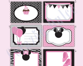 INSTANT DOWNLOAD Minnie-Inspired Printable Cards/tags, book labels, stickers, kids cards, gift tags, labeling, scrapbooking, etc.....