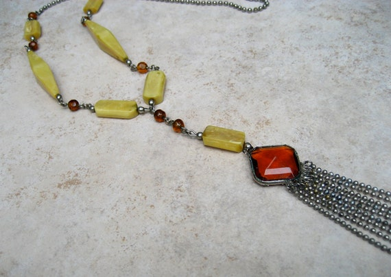 Vintage Art Deco Flapper Necklace Celluloid Amber Glass Tassels