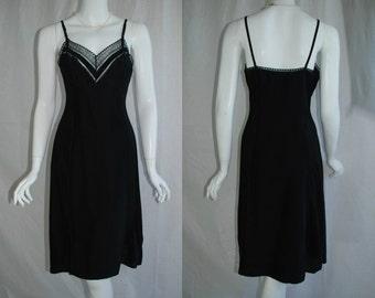 1940s Artemis Black Rayon Slip, 34, Small, Medium, New Old Stock