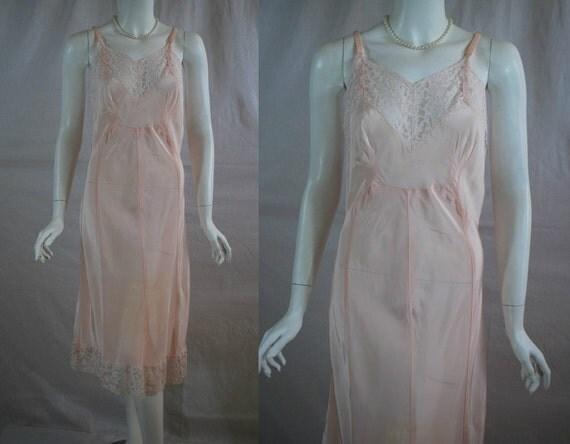1940s Charmode Pink Slip, Acetate and Nylon Full Slip,  36  38 Medium Large