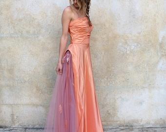 1940s Old Hollywood prom/wedding dress- 40s peach satin formal dress - medium