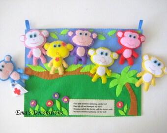 Monkey Felt Board, Quiet Book, Interactive Book, Stuffed Animals, Felt Board Story, Activity Board, Girl Nursery Decor, Monkey Birthday