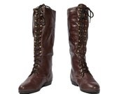 Dark Oxblood / Burgundy Faux Lace Up Fashion Boots size 8 1/2 M